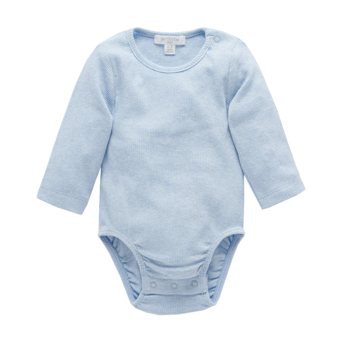 purebaby ribbed long sleeve bodysuit pale blue melange organic cotton baby