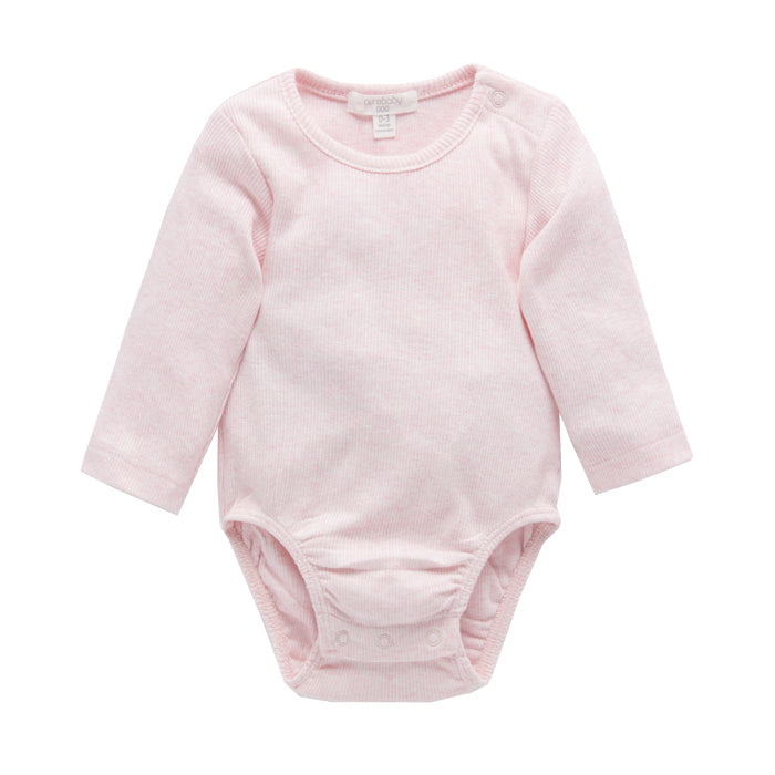 purebaby ribbed long sleeve bodysuit pale pink organic cotton baby
