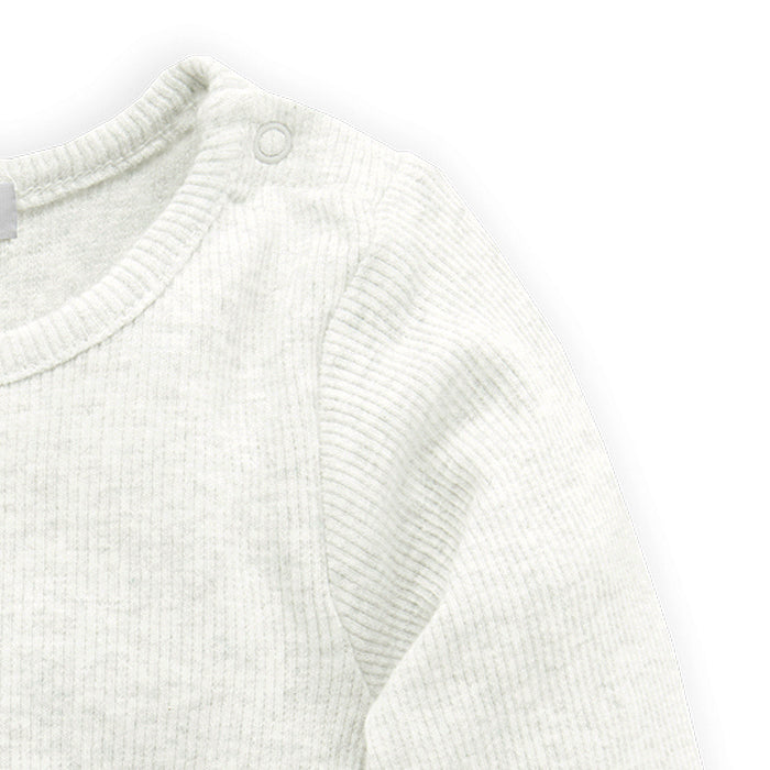 purebaby ribbed long sleeve bodysuit vanilla organic cotton baby