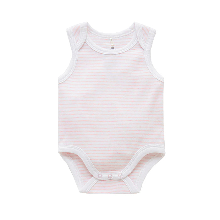 purebaby singlet bodysuit pale pink melange organic cotton baby clothes