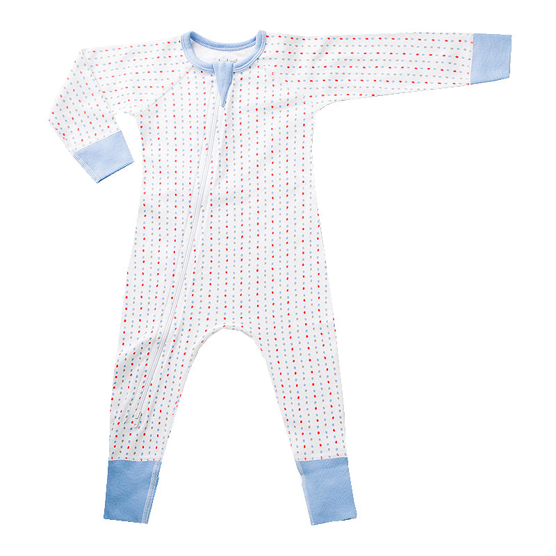 Blue Spotted Zip Romper