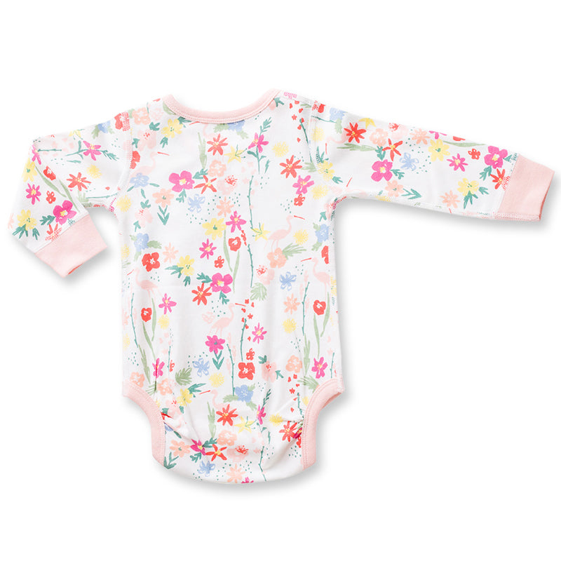 Floral Flamingo Long Sleeve Bodysuit