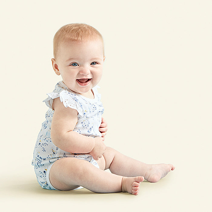 sapling meadow blue organic cotton lace bodysuit for baby