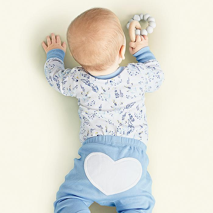 sapling meadow blue organic cotton bodysuit onesie for baby