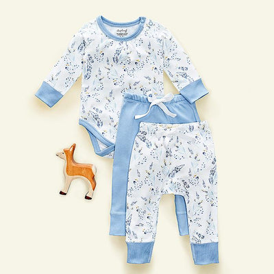 sapling meadow blue organic cotton bodysuit and pants set