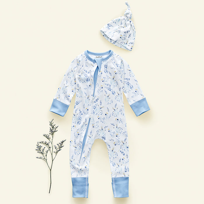sapling meadow organic cotton zip romper with hat for baby