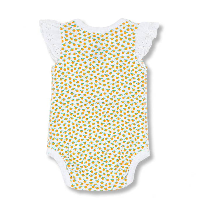 sapling baby organic cotton clothes clementine mandarin orange lace bodysuit