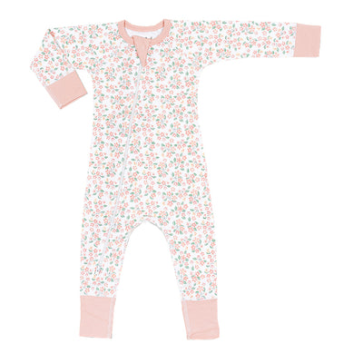 sapling baby organic cotton clothes pear blossom zip romper