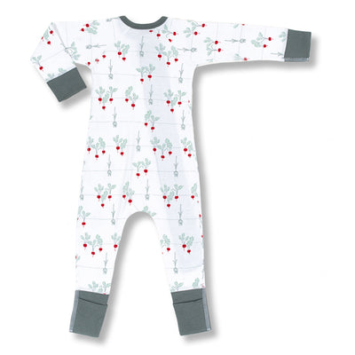 sapling baby organic cotton clothes radish zip romper