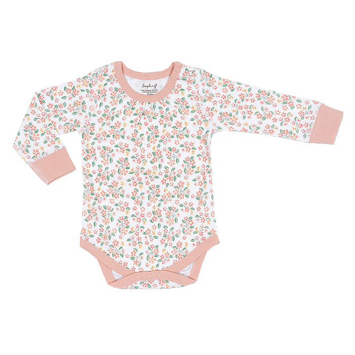 sapling baby organic cotton clothes pear blossom long sleeve bodysuit