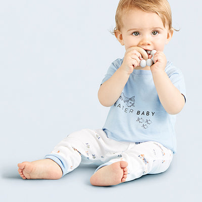 sapling baby wearing water baby organic cotton pants