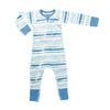 sapling blue stream zip romper organic cotton for baby