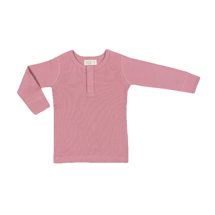 sapling organic cotton clothes for baby bramble pink waffle long sleeve tee