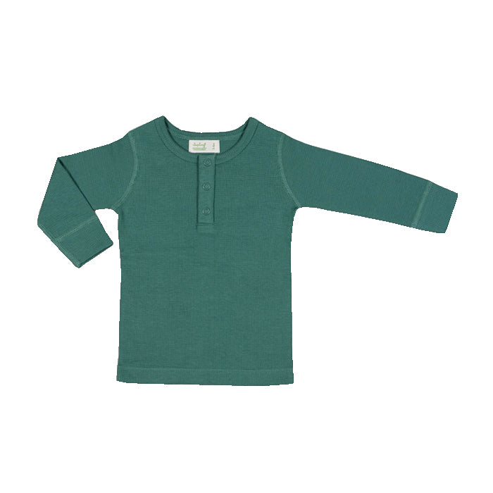 sapling organic cotton clothes for baby spruce green waffle long sleeve tee