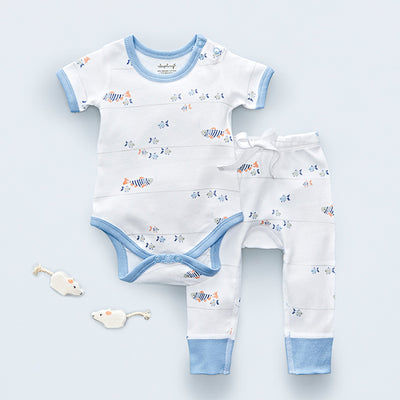sapling baby water baby bodysuit and pants set