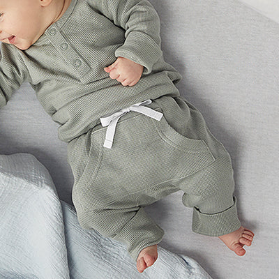 saplingchild organic cotton baby wear alpine grey waffle pants