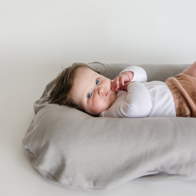 snuggle me organic wren lounger with baby