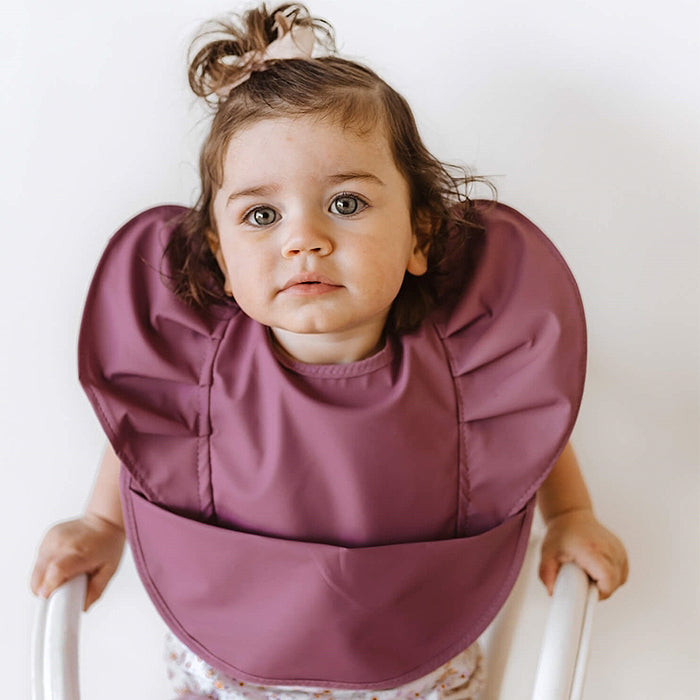 Snuggle Bib Waterproof in Mauve Frill