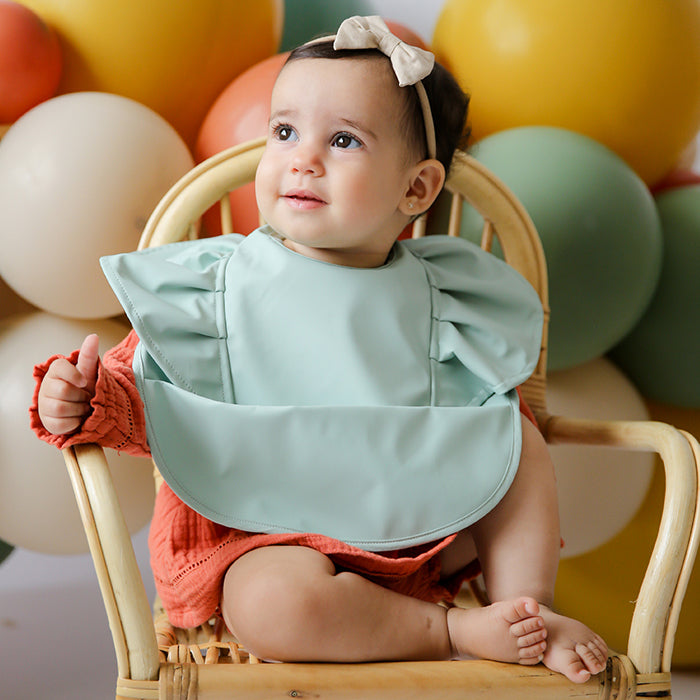 Snuggle Bib Waterproof in Sage Frill