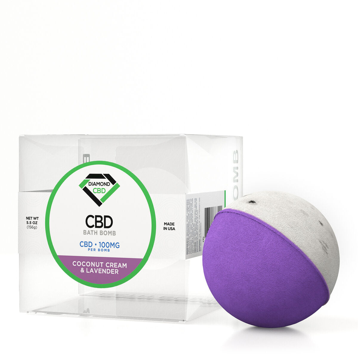 Diamond CBD Bath Bomb Coconut Cream & Lavender - 100mg