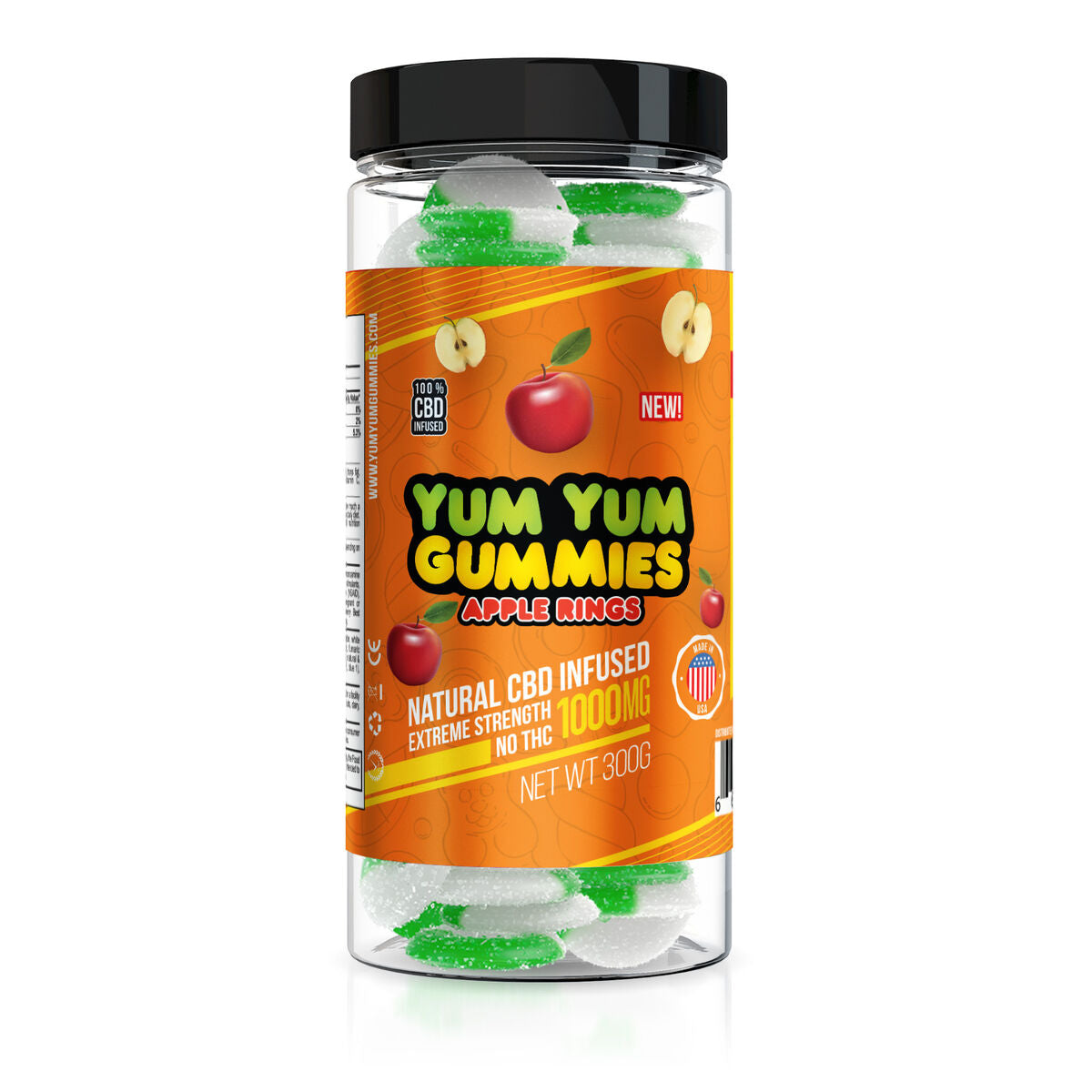 Yum Yum Gummies 1000mg - CBD Infused Apple Rings
