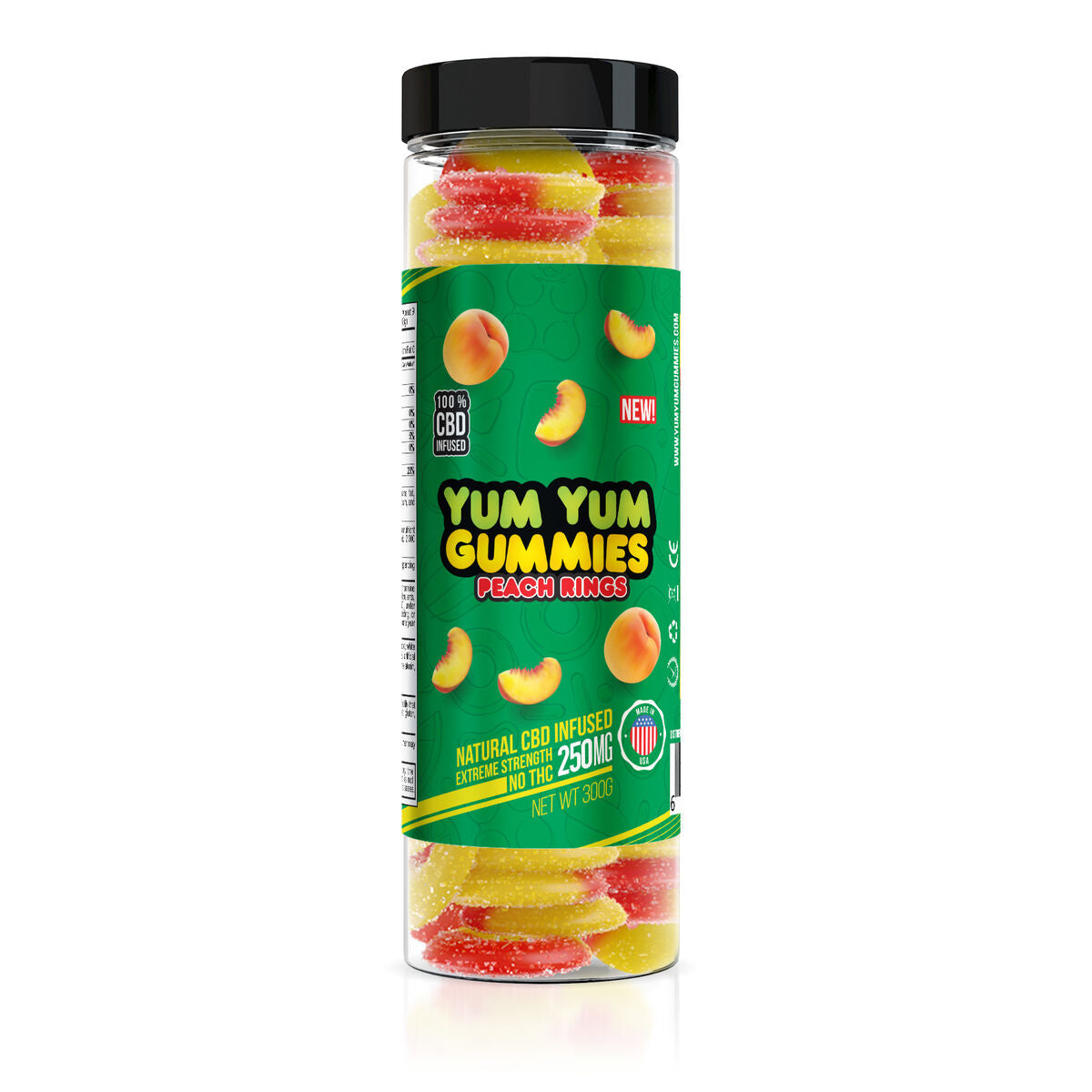Yum Yum Gummies 250mg - CBD Infused Peach Rings