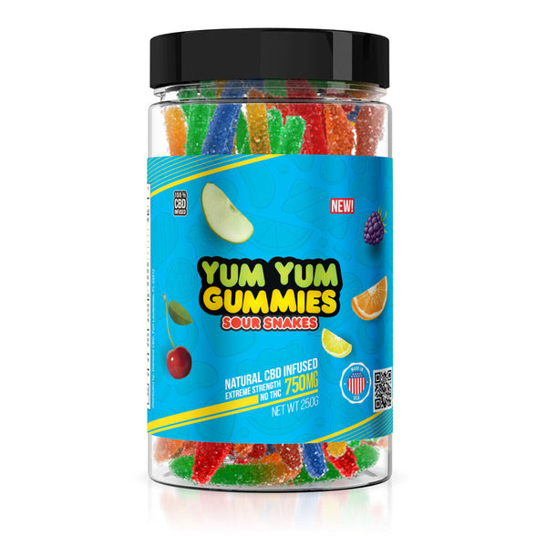 Yum Yum Gummies 750mg - CBD Infused Sour Snakes