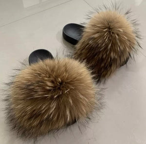 "Raccoon Fur Slides ""Butter Pecan"""