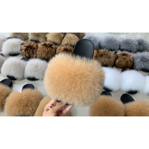 "Fox Fur Slides ""Brown Bear"""