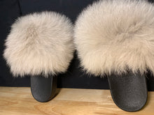"Load image into Gallery viewer, Fox Fur Slides ""OFF White"""