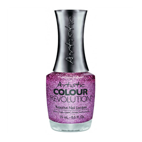 Artistic Colour Revolution Reactive Nail Lacquer - Princess (Pink Holographic Glitter) - 35