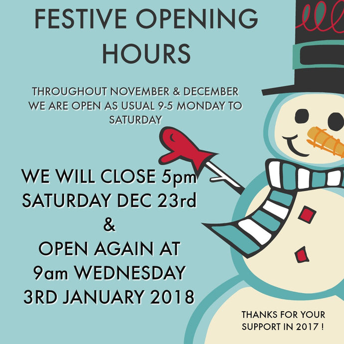 Festive Opening Hours 2017/18