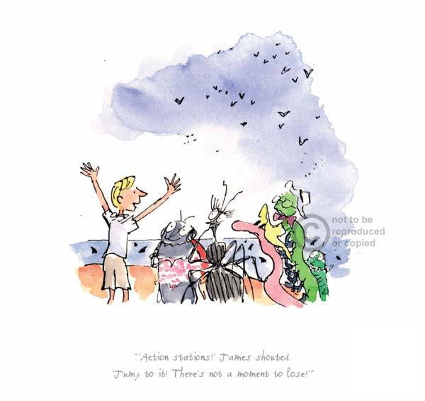 Action Stations ! James Shouted - James & The Giant Peach : Roald Dahl : Quentin Blake - Have It Framed Edinburgh Picture Framer