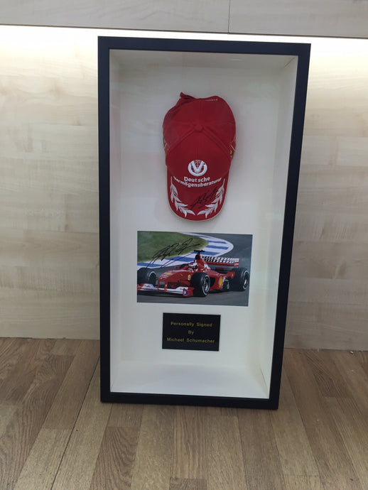 F1 baseball cap with photo and plaque - Have It Framed Edinburgh Picture Framer