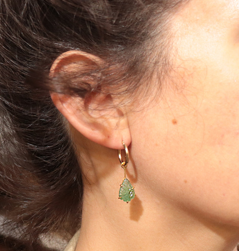 Emerald Leaves 14K Gold Hoops