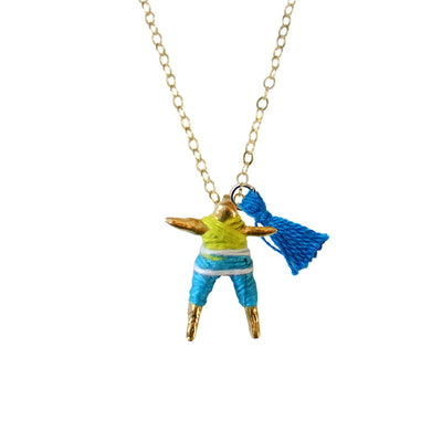 Lime & Blue Worry Doll Necklace 18""