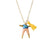 Blue & Peach Worry Doll Necklace 18""