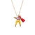 Tangerine & White Worry Doll Necklace 18""