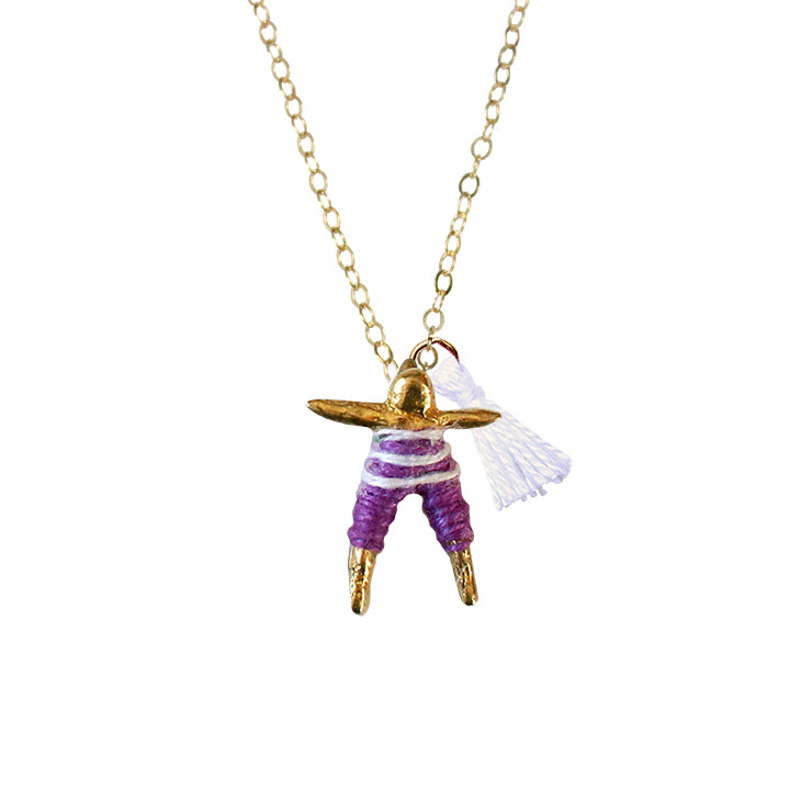 Purple & White Worry Doll Necklace 18""