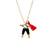 Black & White Worry Doll Necklace 18""