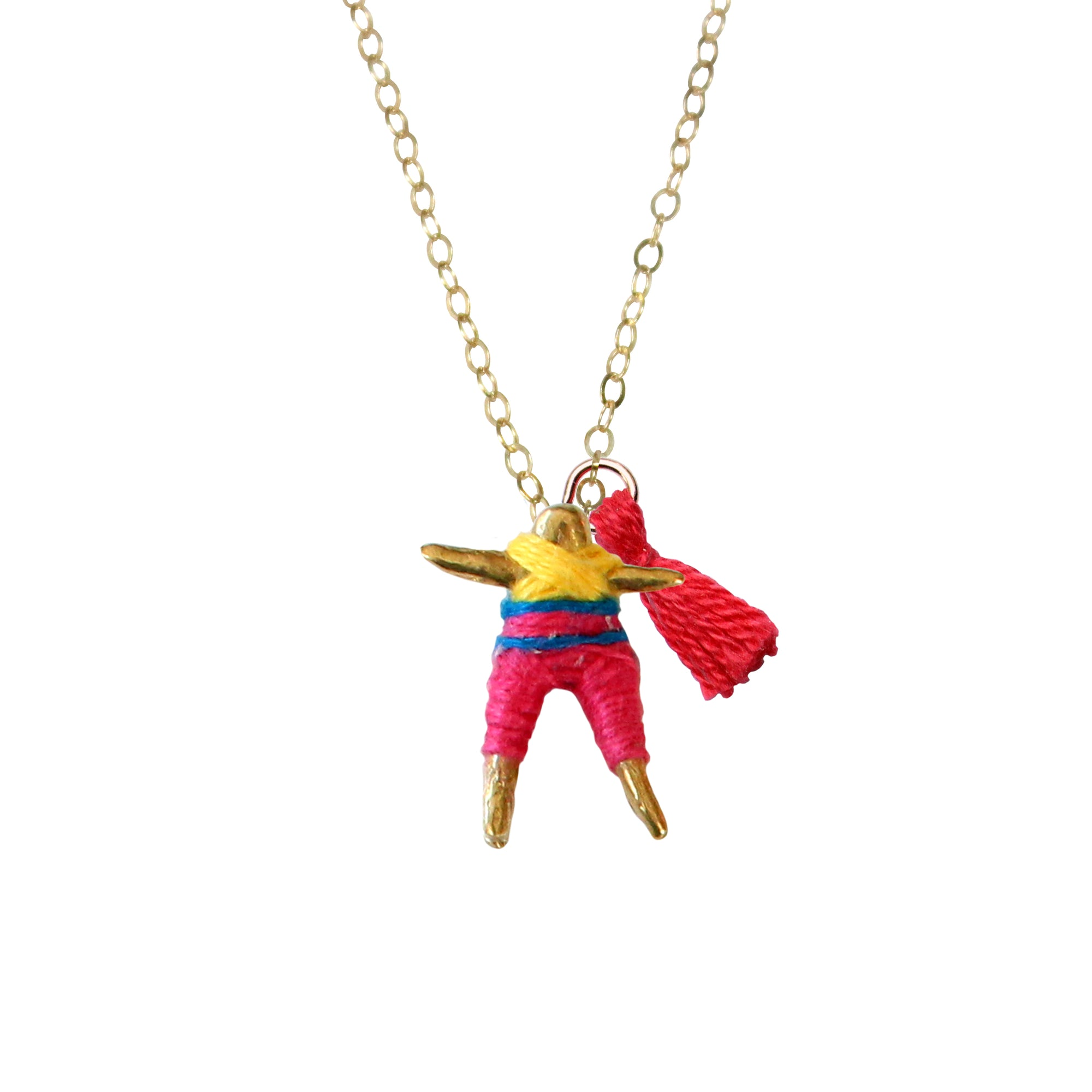 Fuchsia & Sunflower Worry Doll Necklace 18""