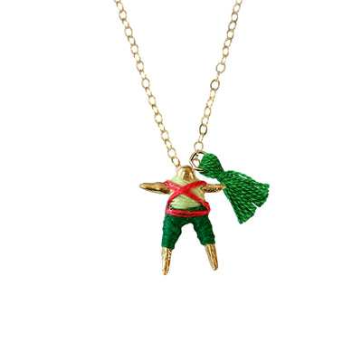 Red & Hunter Worry Doll Necklace 18""