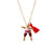 Pink & Maroon Worry Doll Necklace 18""
