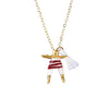 White & Maroon Worry Doll Necklace 18""
