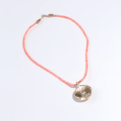 Beaded Coral Necklace with Bronze Oraibi Medallion