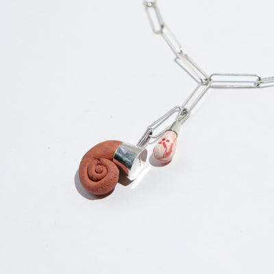 Ram's Horn with Spring Charm Drop Necklace