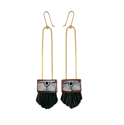 Regalo Long Tassel Earrings - Black