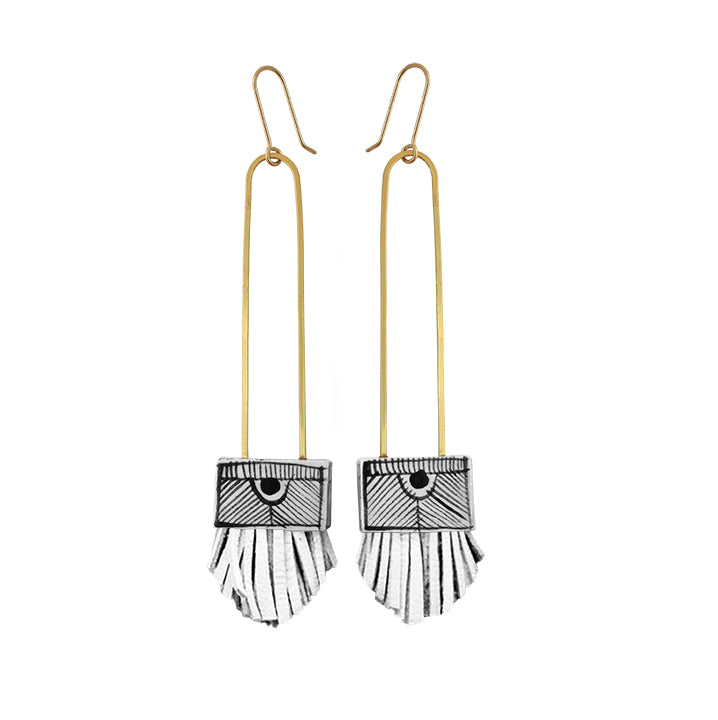 Regalo Long Tassel Earring - White