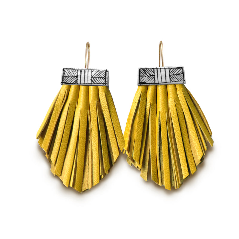 Tassel Cage Earrings - Citron