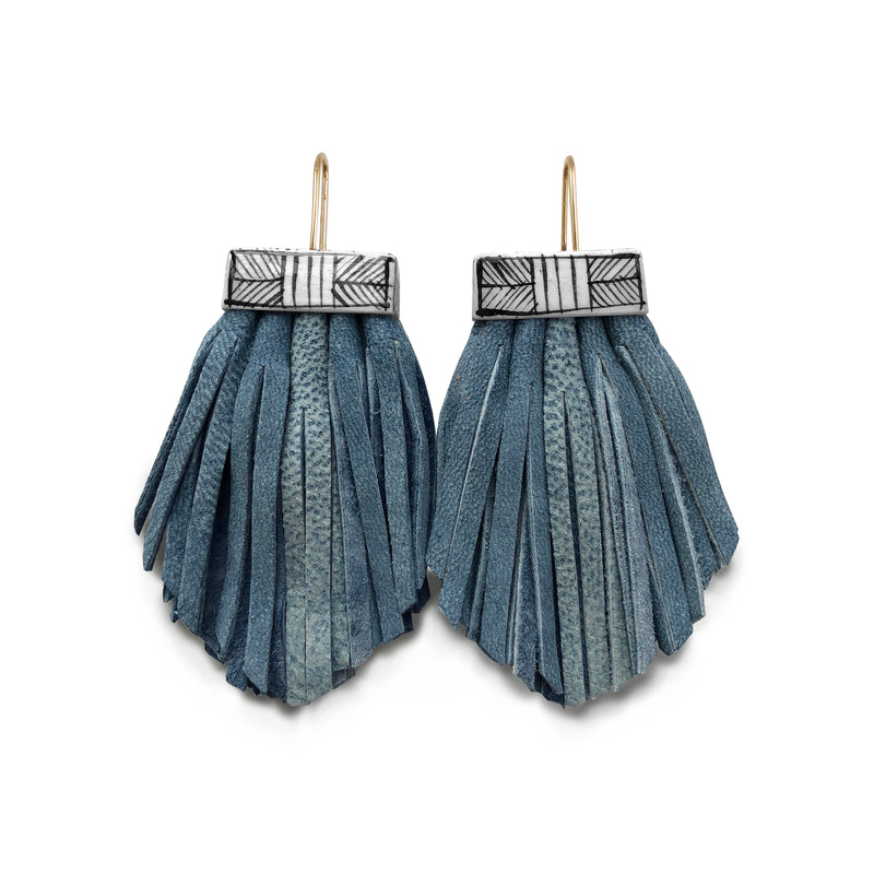 Tassel Cage Earrings - Denim
